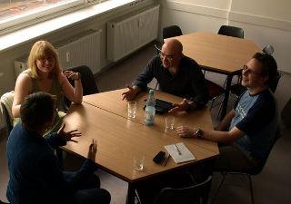 Christina Kaindl, Caroline Rosenthal, Thomas Lohmeier und Christian Siefkes (zum Vergrößern klicken)