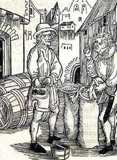 """Ein Holzschnitt von Albrecht Dürer stellt den bis heute strafbaren """"Wucher"""" dar (gemeinfrei, Quelle: http://commons.wikimedia.org/wiki/File:UsuryDurer.jpg)"""