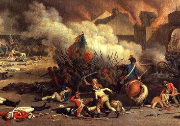 Sturm auf die Tuilerien (königliche Residenz) 1792 während der Französischen Revolution (Gemälde von Jean Duplessi-Bertaux, gemeinfrei, URL: http://commons.wikimedia.org/wiki/File:Jacques_Bertaux_-_Prise_du_palais_des_Tuileries_-_1793.jpg)