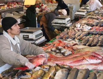 Fischmarkt in Washington, D.C. (Foto von Bien Stephenson, CC-BY, URL: http://en.wikipedia.org/wiki/File:Wash_fish_market.jpg – zum Vergrößern klicken)