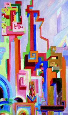 Gemälde von Wenzel Hablik: Große bunte utopische Bauten (gemeinfrei, URL: http://de.wikipedia.org/wiki/Datei:Wenzel_Hablik_Gro%C3%9Fe_bunte_utopische_Bauten.jpg )