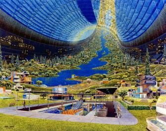 Darstellung des Stanford-Torus, einer in den 1970er Jahren entworfenen spekulativen Weltraumsiedlung (Bild von Donald Davis, gemeinfrei)