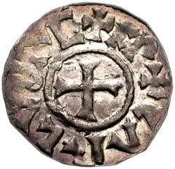 Mittelalterliche Münze aus dem Reich Karls des Großen – Foto der Classical Numismatic Group, Lizenz: CC-BY/GFDL