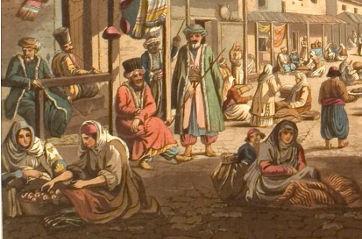 Bazar von Athen (Ausschnitt), Gemälde von Edward Dodwell (1821, gemeinfrei)