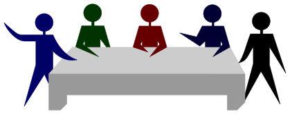 Mutmaßliche Mitglieder eines Kooperativbetriebs beim Diskutieren; Bild von MisterMatt und MesserWoland, Lizenz: CC BY-SA 3.0